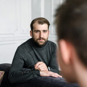 Man having counselling for addiction